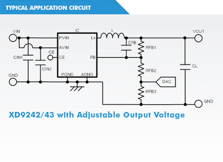 XC9243 Circuit with Adjustable Output Voltage